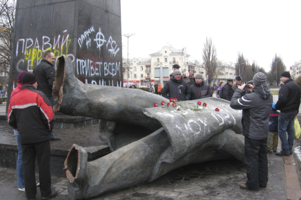 Chernihiv, Ukraine - February 23, 2014: thrown big bronze monument to Lenin the leader of world proletariat in Chernihiv