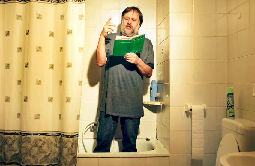Slavoj Ĺ˝iĹľek, slovenian philosopher in his flat in the center of Ljubljana